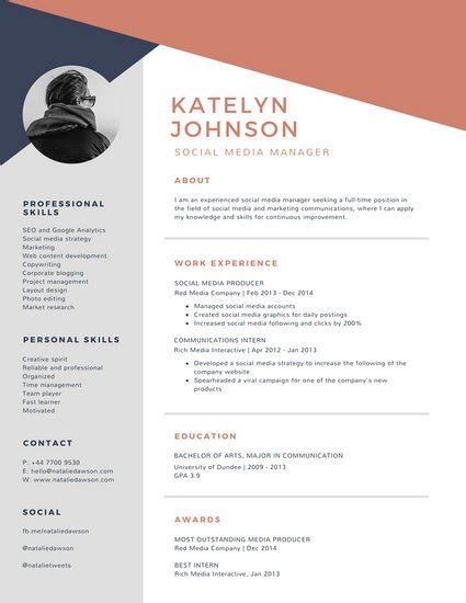 blue and brick geometric modern resume templates by