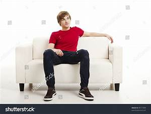 Handsome Young Man Home Sitting On Stock Photo 98171009 ...