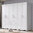 溫妮莎歐風8尺衣櫥 7HY28-01 白色 法式古典鄉村風 公主 衣櫃 MIT台灣製造 【森可家居】