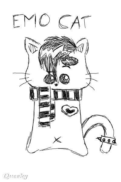 emo animals emo cat  animals drawing