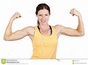 Strong Beautiful Woman Flexing Biceps Stock Image - Image ...