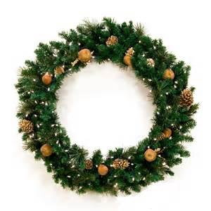 decorative wreaths harvest gold prelit wreath clear lights
