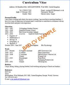 Good and Bad CV Examples