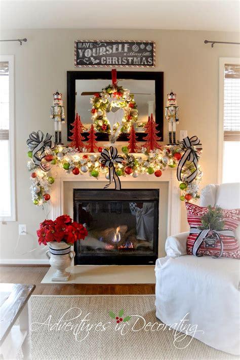 adventures  decorating   christmas mantel