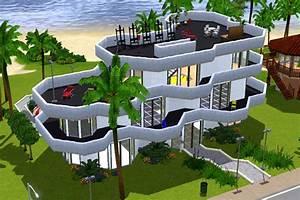 Sims 3 Maison aux balcons courbées Balconies curved house Architecture Maison, House (jeu