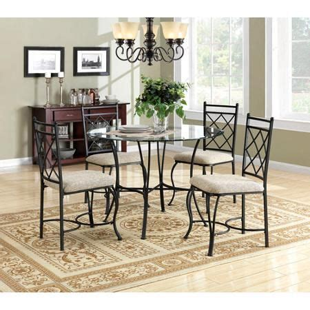 mainstays 5 piece glass top metal dining set only 169