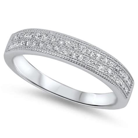 0 30 carat pave row clear russian cz solid 925 sterling silver