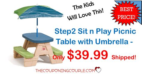 step 2 table with umbrella step2 sit n play picnic table with umbrella only 39 99