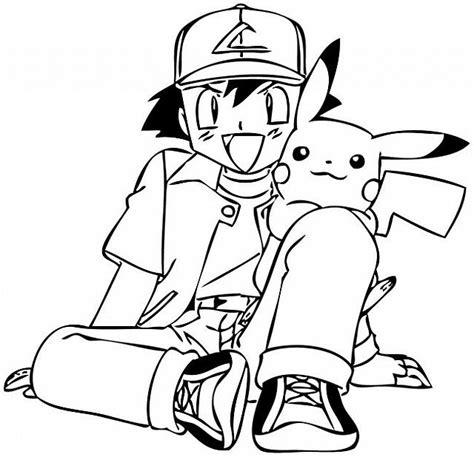 sta disegni da colorare gratis ash e pikachu seduti da colorare disegni da colorare e