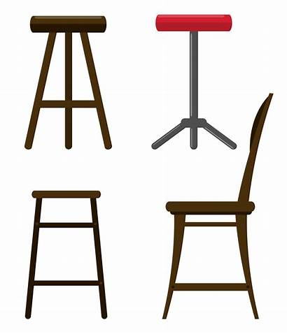 Stool Vector Legged Three Outline Clip Stools