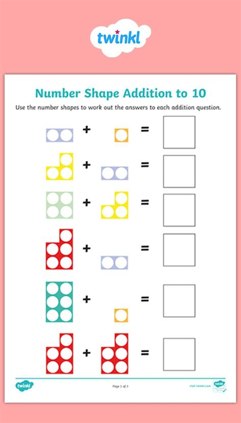 number shape addition activity sheets