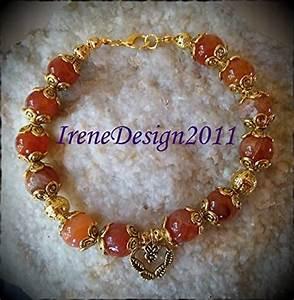 Amazon Com  Orange Vein Agate  U0026 Heart Bracelet  Handmade