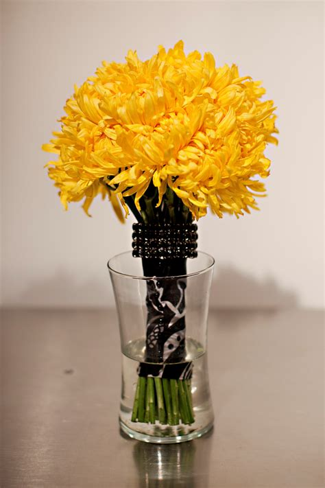 Bouquet By Just Bloomed Yellow Mums With Black Damask Wrap