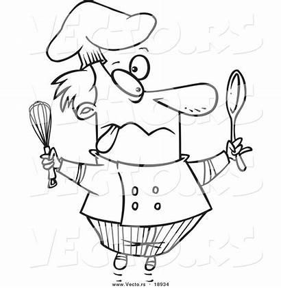 Chef Crazy Cartoon Coloring Outlined Toonaday