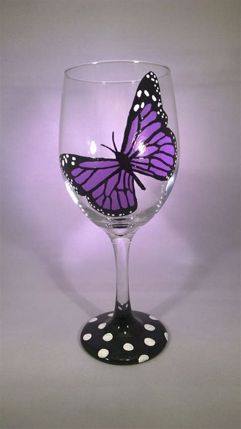 hand painted purple monarch butterfly wine glass great