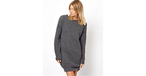 House Of Holland Asos Sweater Dress In Gray (grey)