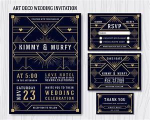 art deco wedding invitation design template stock image With wedding invitation rsvp time frame