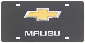 Chevy Malibu License Plate - Gold Bowtie Logo   Black Finish Dwd Plastics