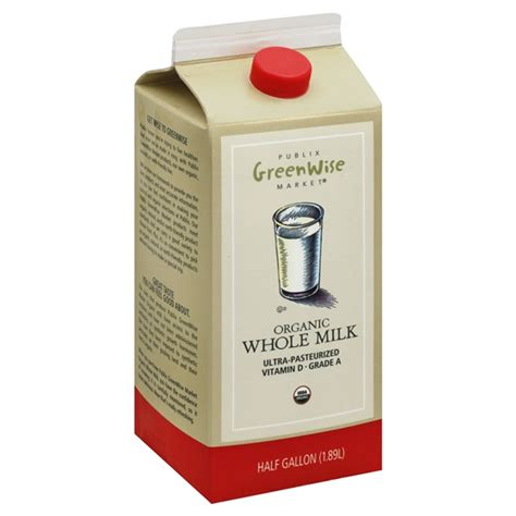 Publix Greenwise Milk, Whole, Organic 1/2 Gallon   Be My Shopper
