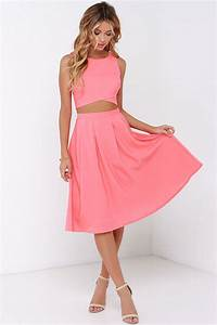 cute coral two piece dress midi two piece dress 7500 With two piece dresses for wedding guest