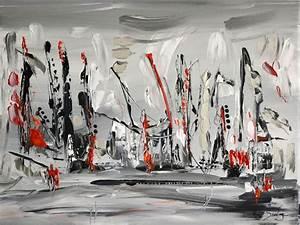 Peinture Blanc Gris : tableau noir et blanc peinture abstraite en noir et blanc ~ Nature-et-papiers.com Idées de Décoration