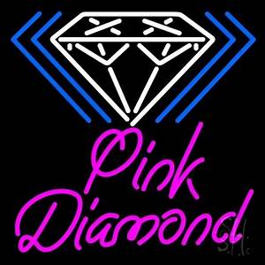 Pink Diamond White Logo Neon Sign