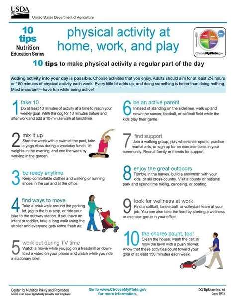 10 tips physical activity at home work and play 976 | e70a2b486cd32db37d818cad1d6786be fitness plan exercise fitness