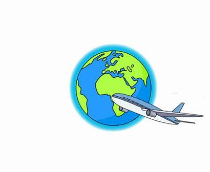 Plane Flying Around Earth Animated Clipart Travel