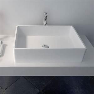 Vasque À Poser Rectangulaire : vasque poser en r sine rectangulaire 60x40 cm min ral ~ Melissatoandfro.com Idées de Décoration