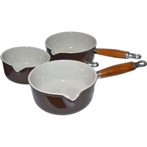 copper chef pan set 7 le creuset set of 3 chocolate brown enamel cast iron