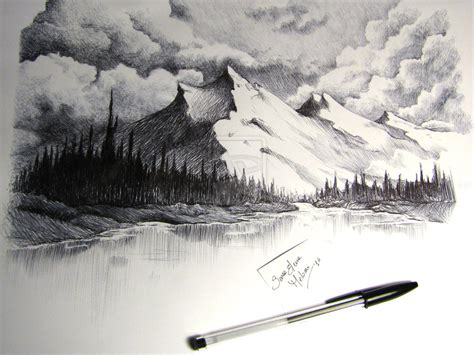 Drawn Mountain Sketch Easy Pencil And In Color Drawn