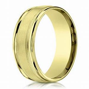 Benchmark Men39s 18K Gold Wedding Band With Milgrain 4mm