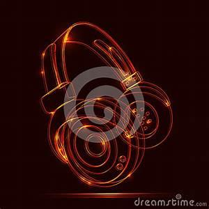 Neon Headphones Grunge Music Royalty Free Stock