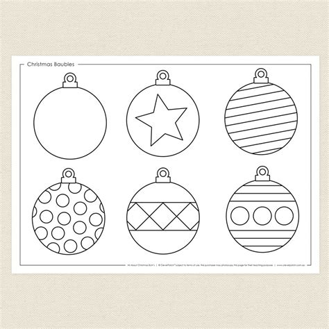 christmas baubles colouring sheet cleverpatch
