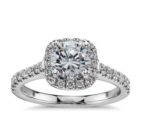 cushion halo diamond engagement ring in 14k white gold 1 3 ct tw blue nile