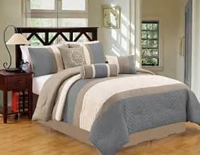 Modern 7 Piece Bedding Spa Blue / Grey / White Pin Tuck