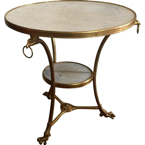 white vintage table l antique french gilt bronze white marble round gueridon