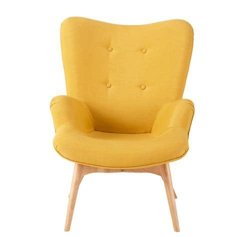fauteuil vintage en tissu jaune iceberg maisons du monde