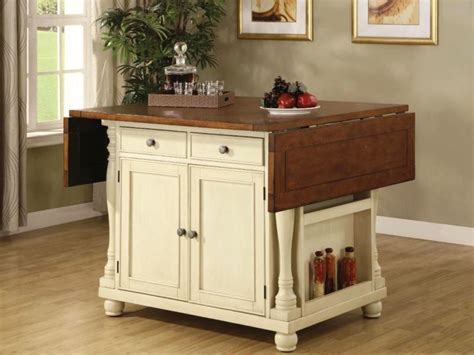 Small White Kitchen Cart With Drop Leaf ? Cabinets, Beds