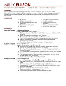 construction laborer resume exles construction labor resume sle my resume