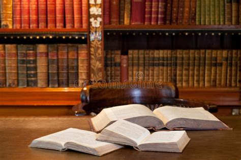 Open Books In Study Or Library Stock Photo - Image of ...