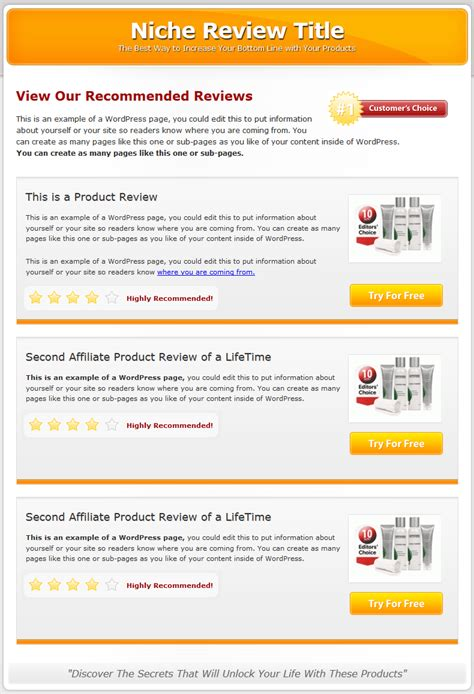 product review template multi product review website templates mrr