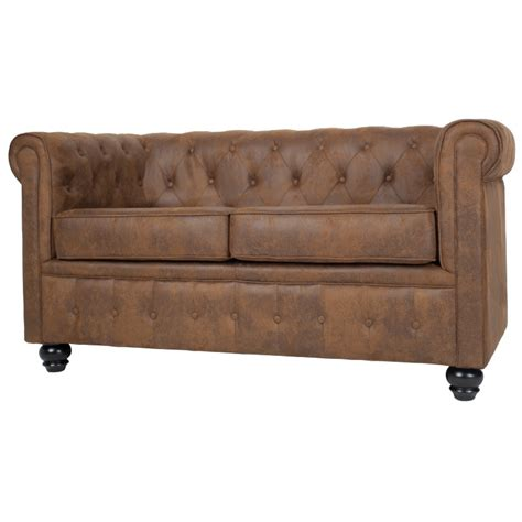 canapé chesterfield microfibre canapé chesterfield 2 places en microfibre marron westfield