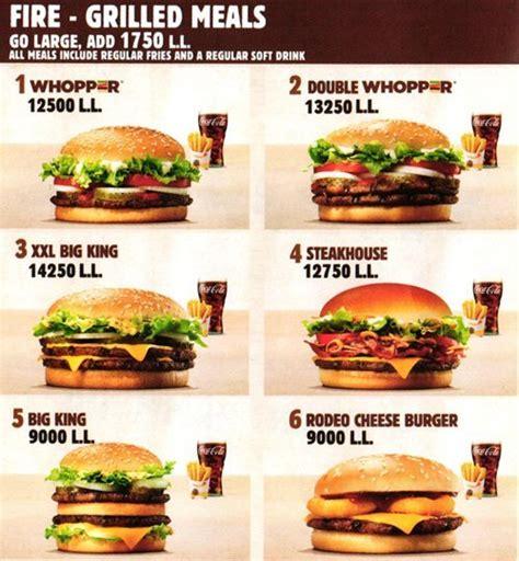 Sofa King Burger Menu by Burger King Menu Menu For Burger King Furn El Chebbak