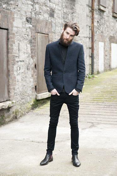 Men Charcoal Blazer Black Turtleneck Skinny