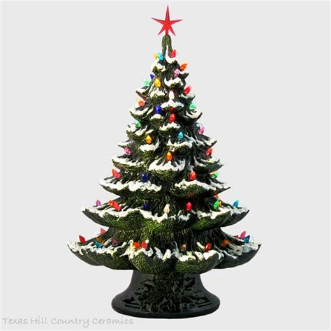 ceramic christmas tree l green ceramic christmas tree with snow color lights star
