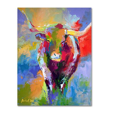 colorful cow painting painted modern bull animals painting hang