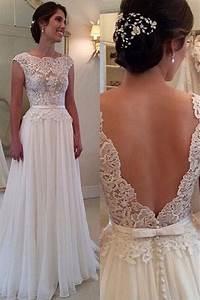 lace chiffon backless a line wedding dresses capped With lace backless wedding dress