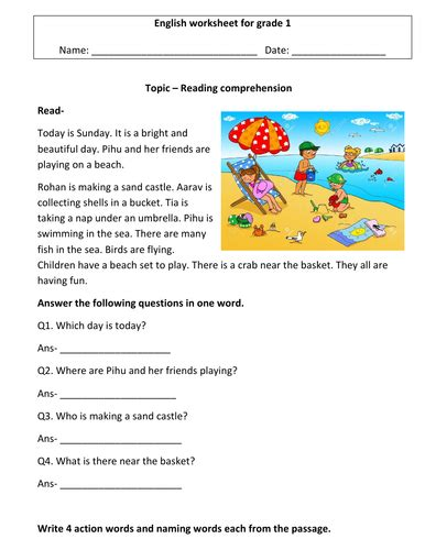 comprehension worksheets for grade 1 3 worksheets by charu 2804 teaching resources