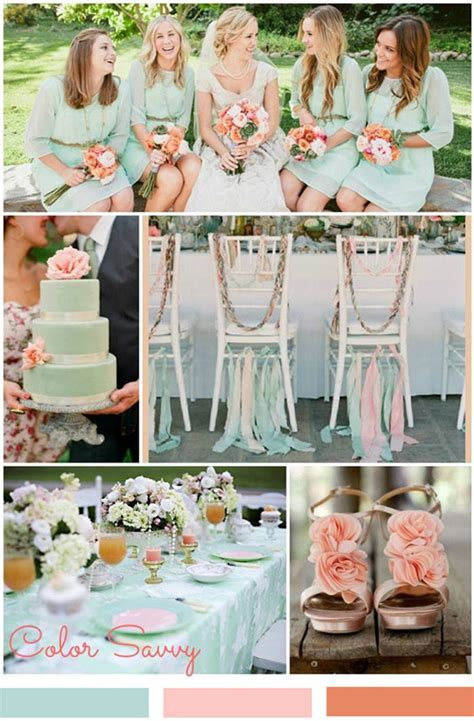 Peach And Mint Green Wedding Theme